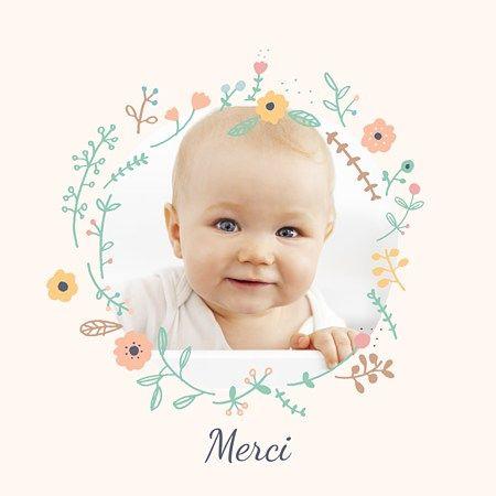 La Carte De Remerciement Bapteme Jolie Couronne Pour Une Petite