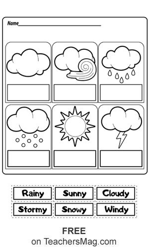 Weather Worksheets: Cut-and-Paste English Activities For Kids, Learning English For Kids, English Worksheets For Kids, English Lessons For Kids, Kids Learning, Back To School Worksheets, Kids English, Weather Activities Preschool, Preschool Printables