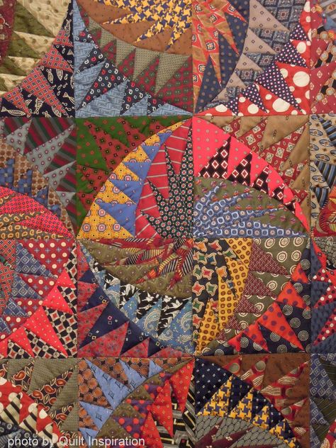 close up, Recycled silk ties quilt by Virginia Anderson, photo by Quilt Inspiration