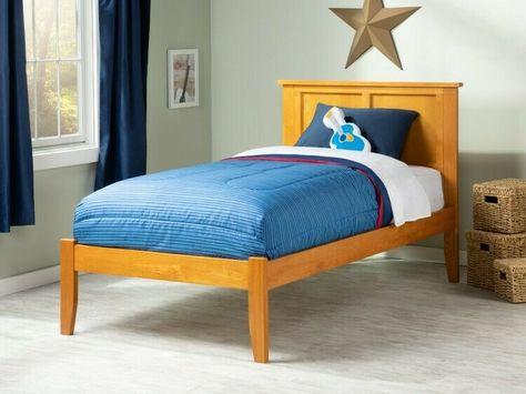 Details About Wooden Twin Xl Bed Caramel Bedframe Slats Bedstead