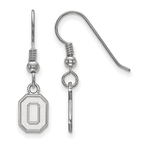 925 Sterling Silver Rhodium-plated Laser-cut Mississippi State University XS Dangle Bead Charm