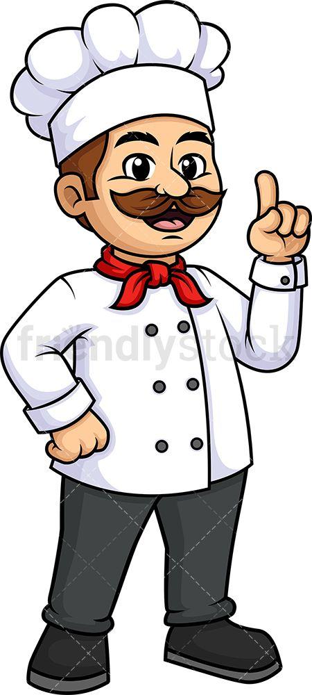 Male Chef Pointing Up Cartoon Clipart Vector Friendlystock Cartoon Clip Art Cartoon Mickey Drawing