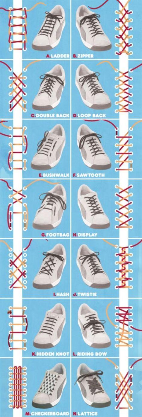 Plein de nœuds de lacets chaussures