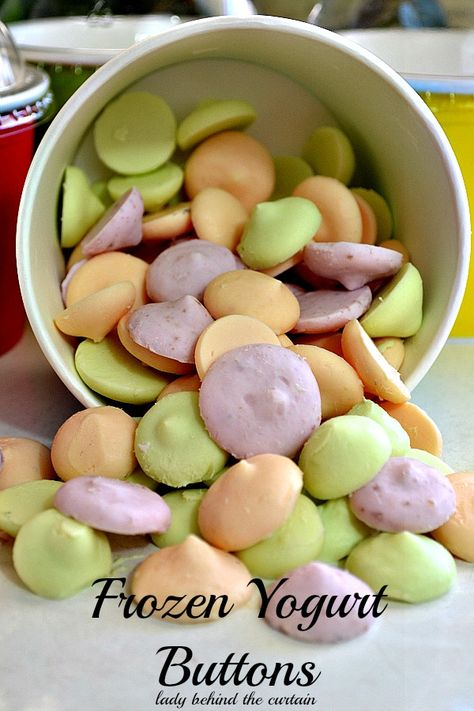 Frozen Yogurt Buttons - make your kids a healthy snack. These little frozen treats are cold and creamy. The perfect after school snack. ONLY 1 INGREDIENT!