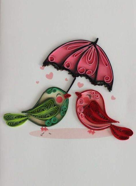 Birds & Umbrella Quilling Card - UViet Store