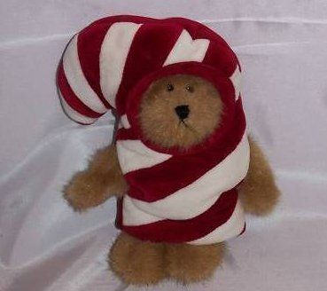 Boyds Bears C.C. Peekers in Candy Cane Costume-He is part of my Christmas display.