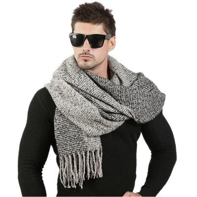 Winter Solid Scarf Men Black And Gray Warm Soft Cotton For Adult Mens Scarves