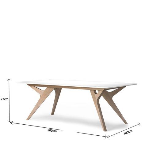 Table Bois Blanc Chene Design Scandinave Made France Mesures