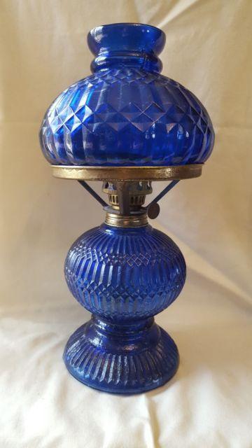 Cobalt Blue Oil Lamp, Cobalt Blue Hurricane Lamp