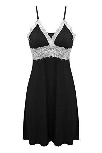 Ekouaer Sleepwear Womens Chemise Nightgown Full Slip Lace Lounge Dress #sleepwear #chemise #nightgown