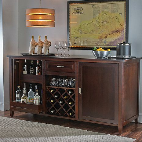 Wine Enthusiast Firenze Wine and Spirits Credenza An Italian credenza of exceptional beauty, our exclusive wine and spirits bar is fashioned by master cabinetmakers in Tuscany from select walnut hardw