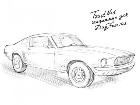 How To Draw Ford Mustang Step By Step Art For Saxon
