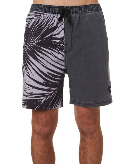 Silhouette of Palm and Surfer Mens Summer Beach Shorts Board Shorts with Pockets