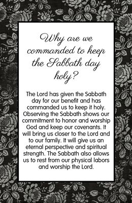 """Love this handout.  I would add:  Pass it out to each YW.  Tell them they only have enough ink in their pen to underline 3 words.  Play a song and when the song is over - have them share what they underlined and why.  Another idea:  Up on the board:  How would you explain what the Sabbath Day is and Why we honor it to a non member.  Give them a few minutes to write their response.  Discuss"
