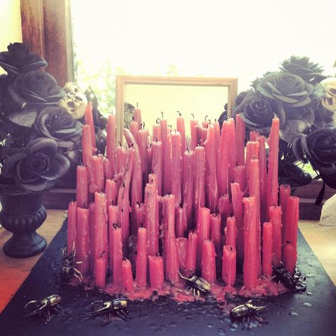 Beautiful dripping candle display! Can't wait to try this out!!  FASHION JOURNAL by Suzanne Marie: Kat von D inspired candle decoration piece