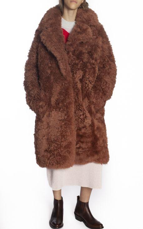 Curly KHÄ CoatIRINA AW18 Fur Old Pink Selection UVpGqSzM