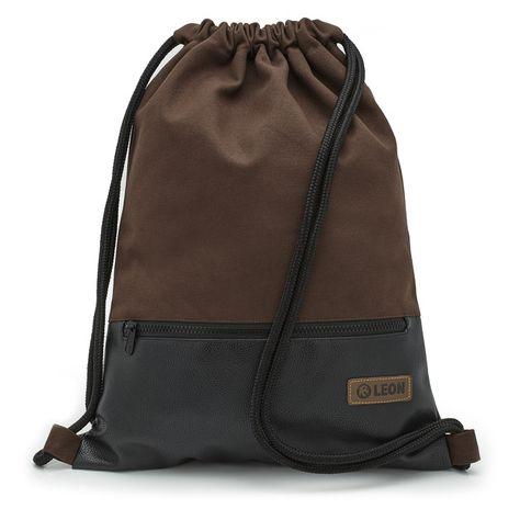 3fcb2f244dbfa   LEON Tasche Turnbeutel Rucksack Sportbeutel   -   Gym Bag Gymsack Hipster  Fashion aus eigener Manufaktur By-Bers   - Design Braun Schwarz -  verwendete ...