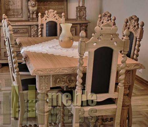 Meble Drewniane Stol Debowy Krzesla Rzezbione Meble Gdanskie Antyki