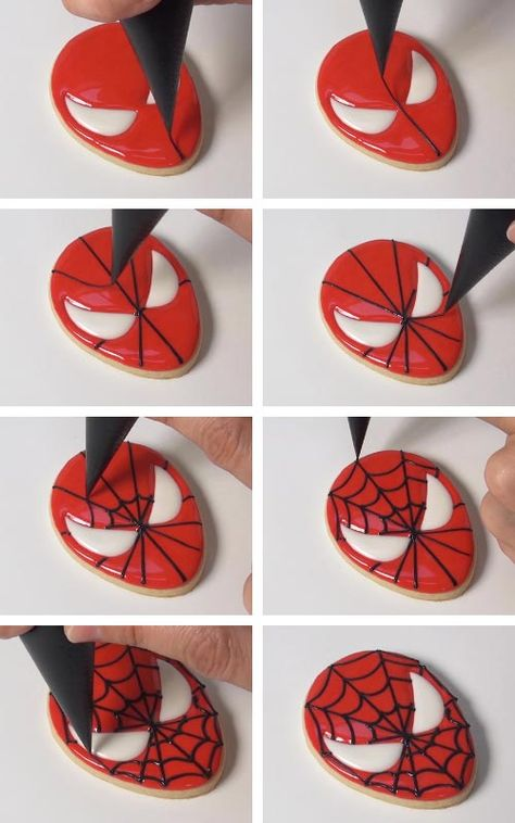 In this tutorial I'm going to show you how to make 2 simple Spider-Man inspired sugar decorated with royal icing. Spiderman Cookies, Superhero Cookies, Superhero Birthday Cake, Valentine Cookies, Birthday Cookies, Christmas Cookies, Baby Cookies, Heart Cookies, Easter Cookies