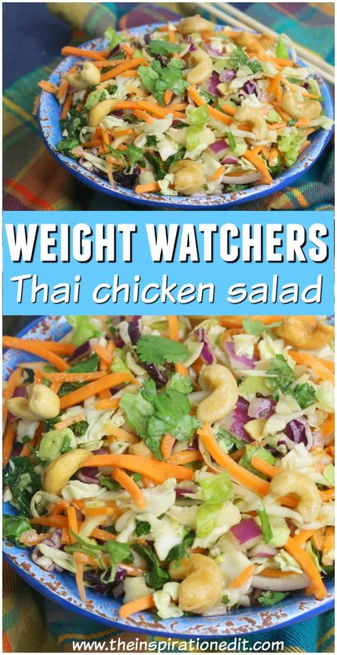This healthy Thai salad recipe is made up of zero point foods on the Weight watchers plan. The Thai salad dressing is 3 points and each salad is served with a tablespoon of cashew nuts worth 1 point. Enjoy this tasty Thai dish and fill up on salad when Salade Weight Watchers, Plats Weight Watchers, Weight Watchers Lunches, Weight Watchers Meal Plans, Weight Watchers Diet, Weight Watchers Dressing, Thai Chicken Salad, Chicken Salad Recipes, Ww Recipes