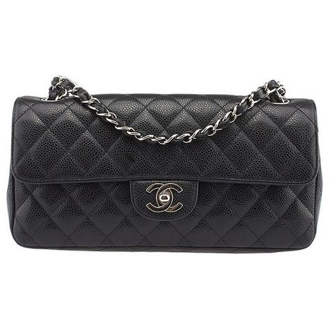 6ee46026209d Pre-owned Chanel East West Black Caviar Quilted Leather Shoulder Bag  ($1,610) ❤ liked on Polyvore featuring bags, handbags, shoulder bags, chain  shoulder ...