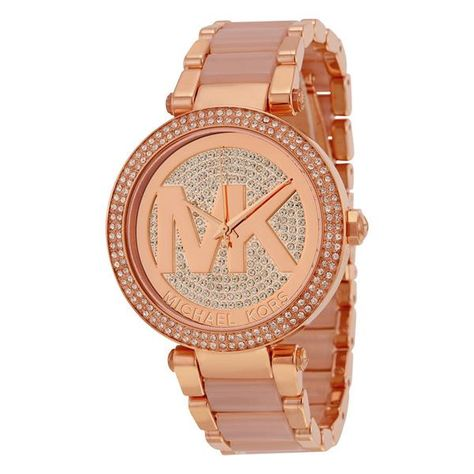 fe3ebdb6ee88 Parker Crystal Pave Logo Dial Rose Gold-tone Ladies Watch