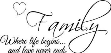 Amazon.com: Family where life begins and love never ends wall art wall sayings vinyl letters stickers decals bedroom living room: Home & Kitchen