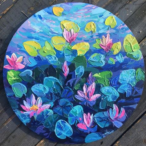 August water lilies by Anastasia Trusova Simple Canvas Paintings, Diy Canvas Art, Acrylic Canvas, Painting Inspiration, Art Inspo, Water Lilies, Pretty Art, Creative Art, Art Lessons