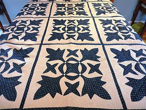 Antique Hand Stitched Quilt Blue White Upstate New York | eBay, joesattic