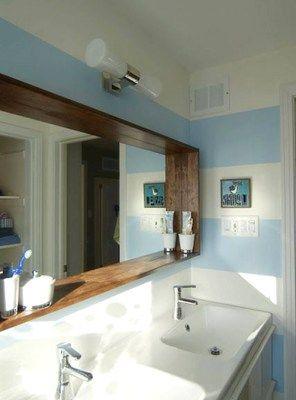 Specchio Da Bagno Con Cornice In Legno L150 H80 Cm Specchi Bagno