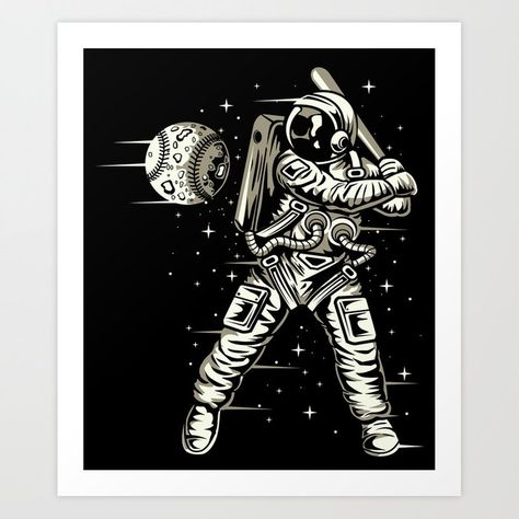 Space Baseball Astronaut Art Print by augustinet