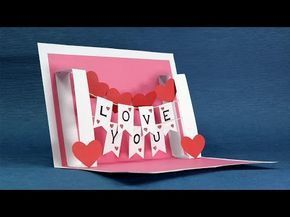 Pop Up Love Card Happy Valentine S Day Card Step By Step Tutorial Youtube Pop Up Valentine Cards Diy Pop Up Cards Pop Up Card Templates