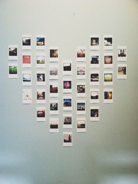 DIY Projects to Turn Your Photos into Wall Art Polaroid heart wall art is so cute!Polaroid heart wall art is so cute! Polaroid Display, Polaroid Wall, Polaroid Pictures Display, Instax Wall, Polaroid Decoration, Polaroid Photos, Polaroids On Wall, Ways To Hang Polaroids, Hanging Polaroids