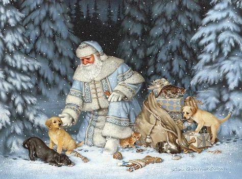 Необычный у этой художницы Санта. Это скорее , судя по одежке, смесь Санты и Деда Мороза. Очень мне нравится его голубые наряды на этих картинах. И зверюшки тут…