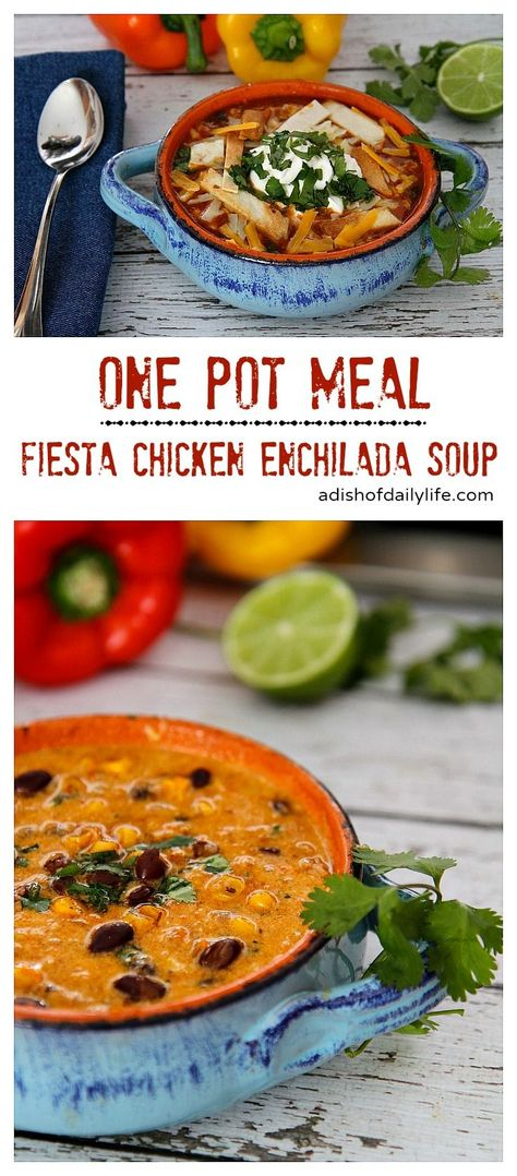 This one pot Fiesta Chicken Enchilada Soup can be ready in 30 minutes. Perfect for families on the go! #OnePotMeal