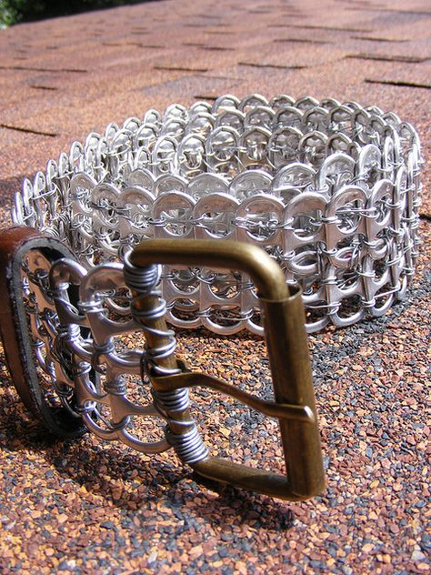 To Purchase please visit my site: [link] I'm no real soda drinker, and nor is my family, so it took a long time to collect all 170 soda/pop tabs fo. Soda Tab belt --different view Soda Tab Crafts, Can Tab Crafts, Tape Crafts, Pop Top Crafts, Pop Can Tabs, Recycling, Soda Tabs, Pop Cans, Recycled Crafts