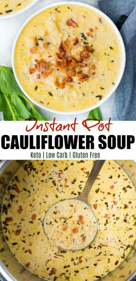 Low Carb Cauliflower Soup made right in the Instant Pot is crazy delicious and perfect winter soup. Loaded with bacon and cheese, this Keto Cauliflower Soup is rich, creamy and ready in under 20 minutes.