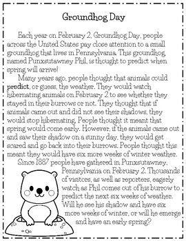 15++ Groundhog day reading comprehension worksheets Images