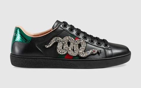 e52b7175583 Gucci Black Crystal Snake Embroidered Ace Low Top Sneaker