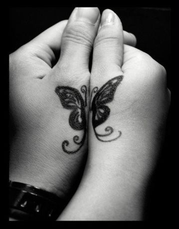 Half & half butterfly couples tattoo.