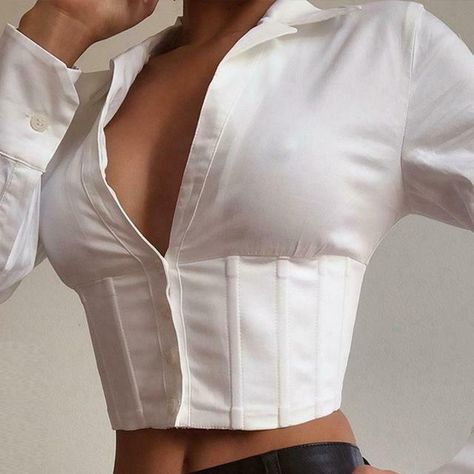 White Lace Up Sexy V Neck Women Tops Blouse Long Sleeve Crop Top Shirt Corset #Blouse #PartyCocktail