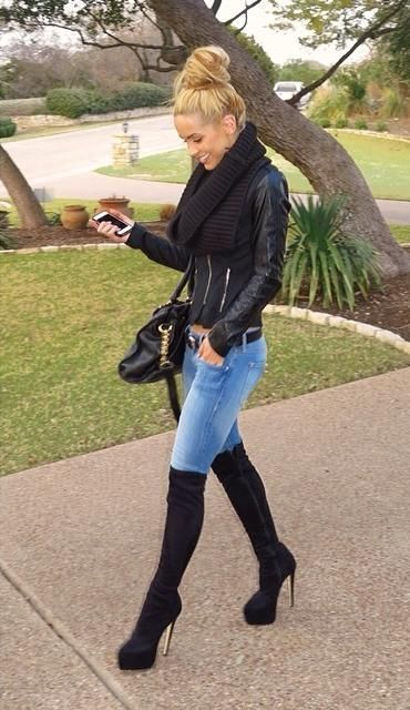 How to wear black suede over the knee boots outfits for women) Women& Fashion - Wear a black leather biker jacket and blue skinny jeans for a casual yet stylish look.