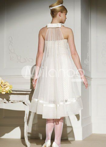 Ivory Fashion Net Round Neck Mermaid Trumpet Mini Wedding Dress  Item Code:#10610121692 milanoo.com