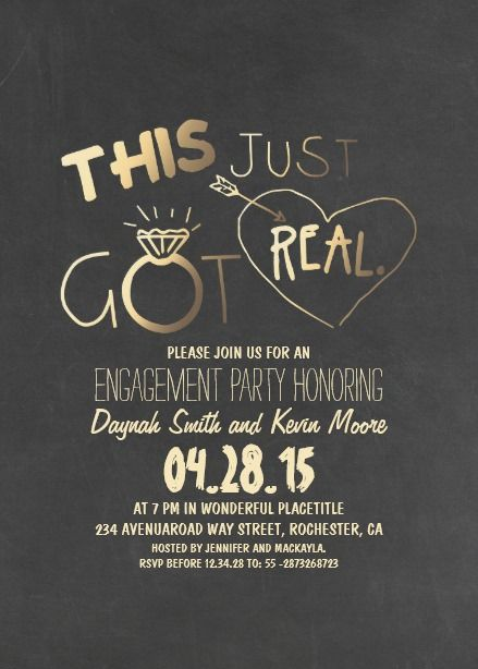 Fun Engagement Party Invitation This Just Got Real