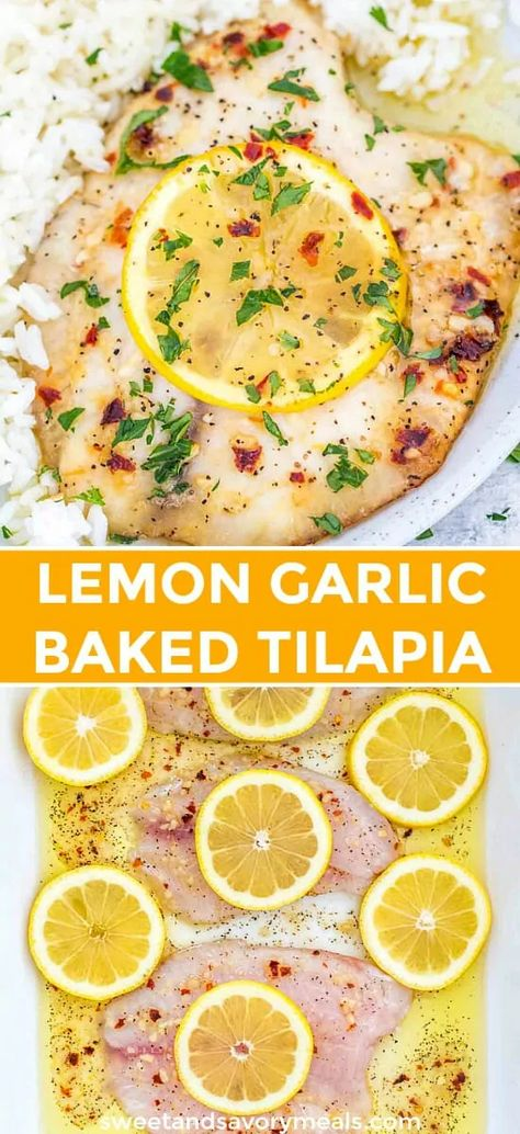 Baked Lemon Garlic Tilapia is an easy to make dish which tastes great, and is ready in less than 20 minutes. #tilapia #fish #fishrecipes #easyrecipe #dinnerrecipe #sweetandsavorymeals #ketorecipes