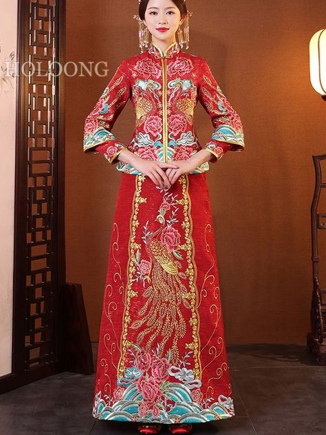 Women/'s Lace Dress Short Sleeve Slim Embroidery Cheongsam Sundress M-4DS