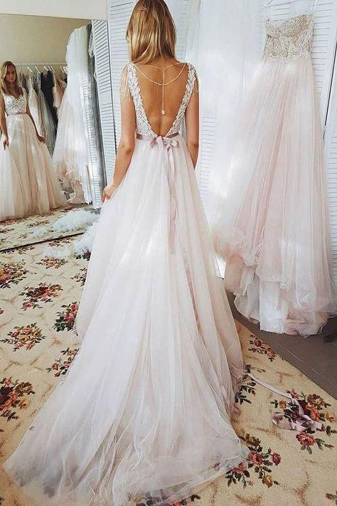 4074bf9cb1dc V Neck V Backless Long Wedding Dresses Bridal Gowns with Appliques Sash