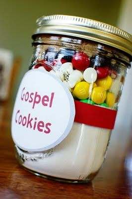 Gospel Cookies (in a jar) M&Ms using the colors of wordless gospel