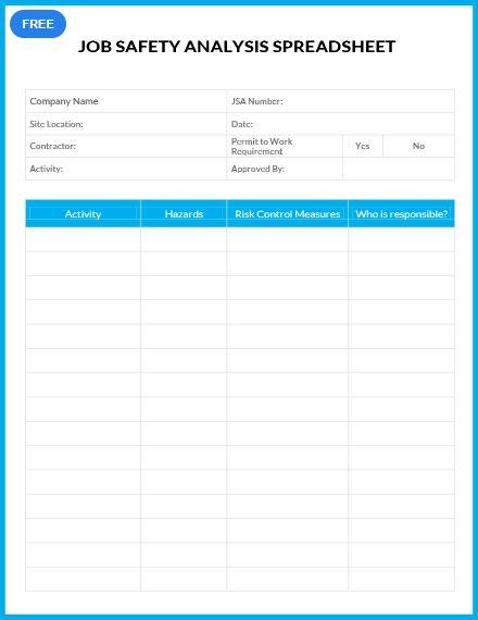 Free Job Safety Analysis Spreadsheet Spreadsheet Template Job