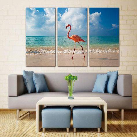 3 Panel Wall Art Canvas Painting Flamingo Walking In Beach